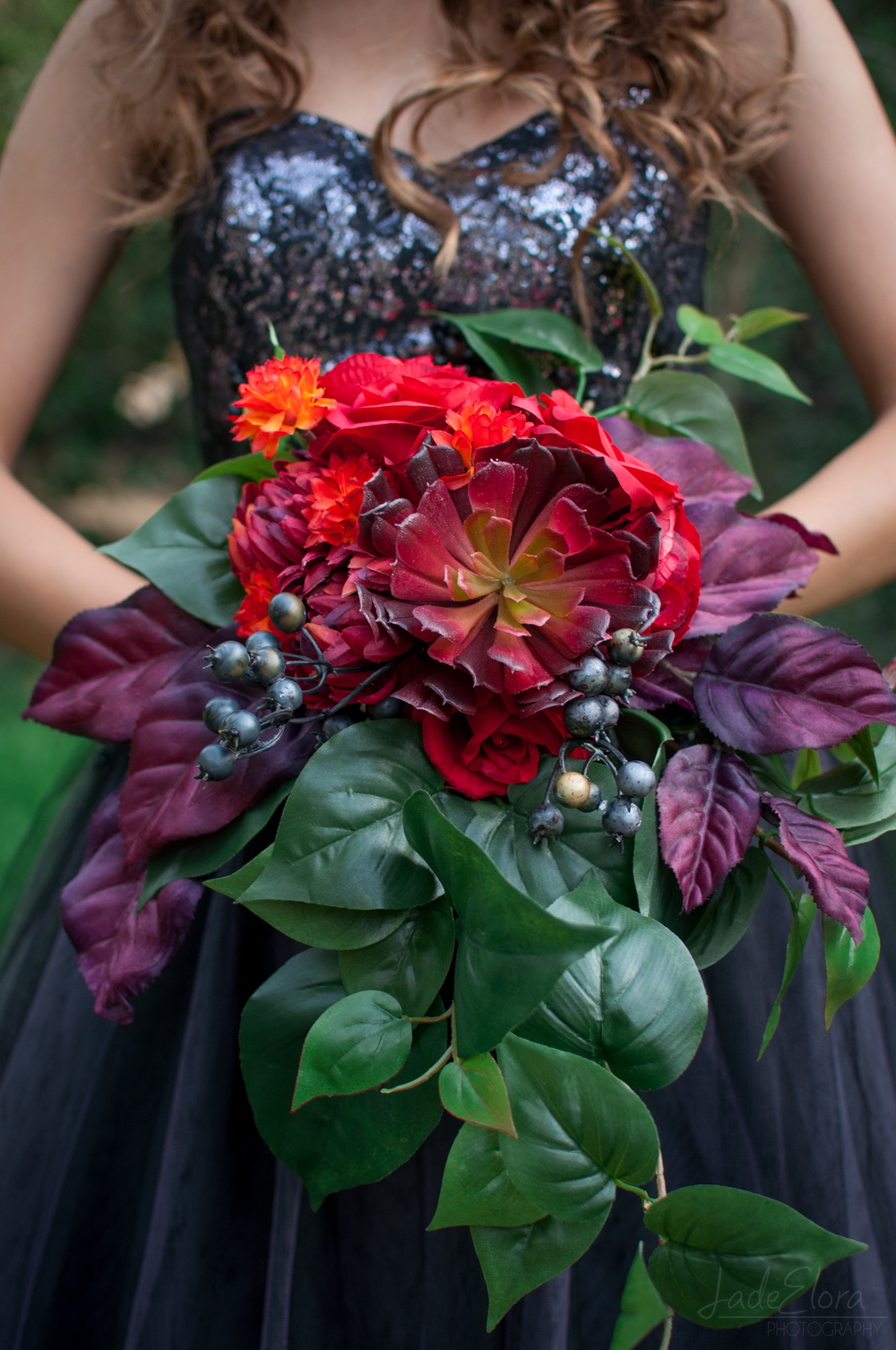 Dark Red and Purple Gothic Cascading Bouquet