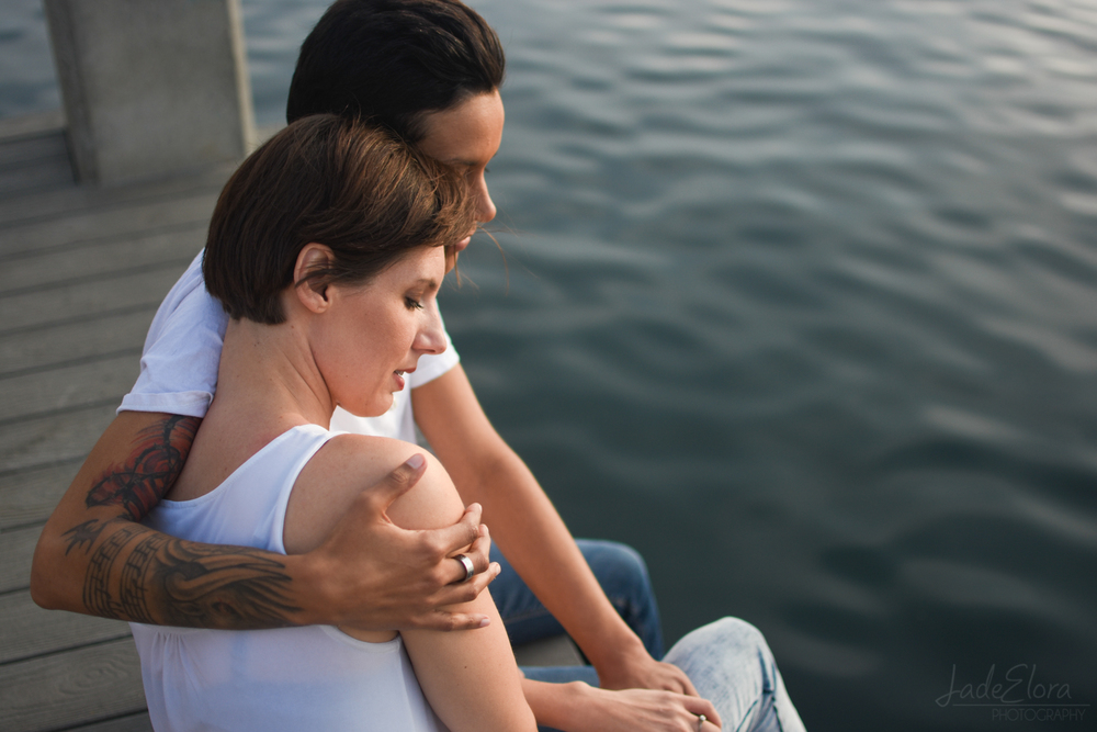 Tattooed Gay Couple Engagement Photos by the Water