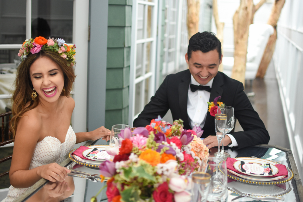 Colorful Bride and Groom Laughing