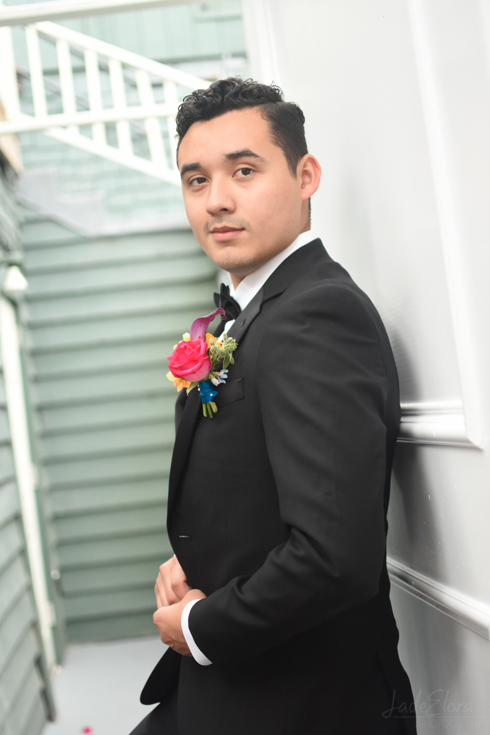 Groom with Pink Boutonniere at The Victorian Santa Monica
