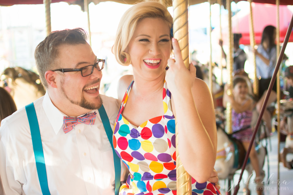 County Fair Polka Dot Dress Engagement Portrait