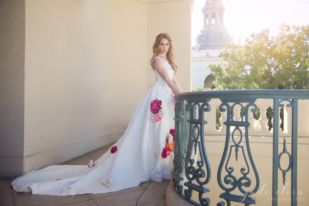 Pasadena City Hall Flower Wedding Dress