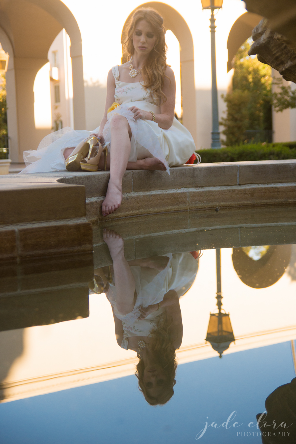 Bride Dips Her Feet in Fountain at Pasadena City Hall