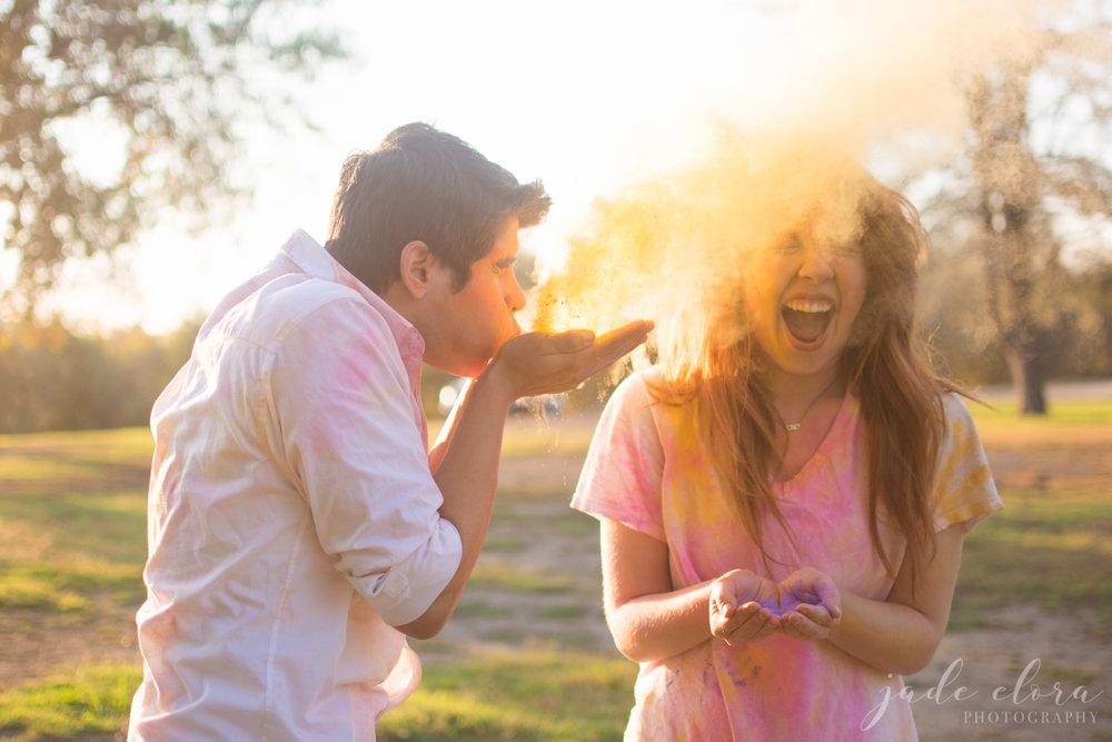 Colorful Playful Holi Powder Engagement Session