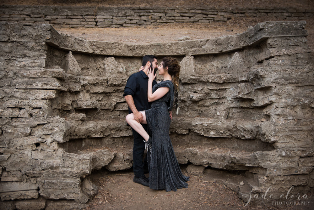 Alternative Goth Rock Couple Engagement Photo in Ruins