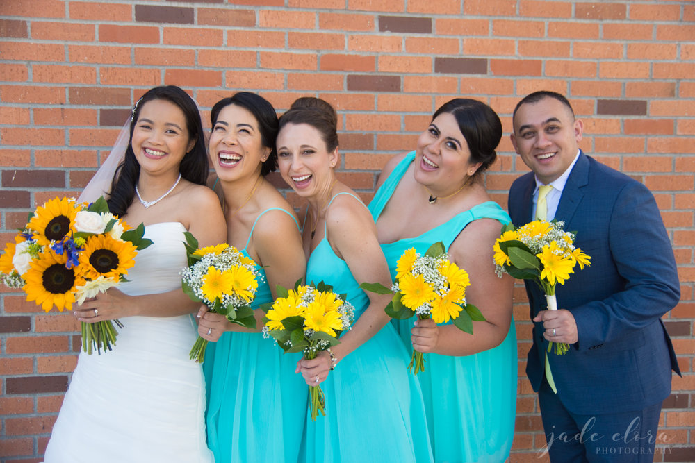 Bride with Mixed Male and Female Bridal Party in Turquoise
