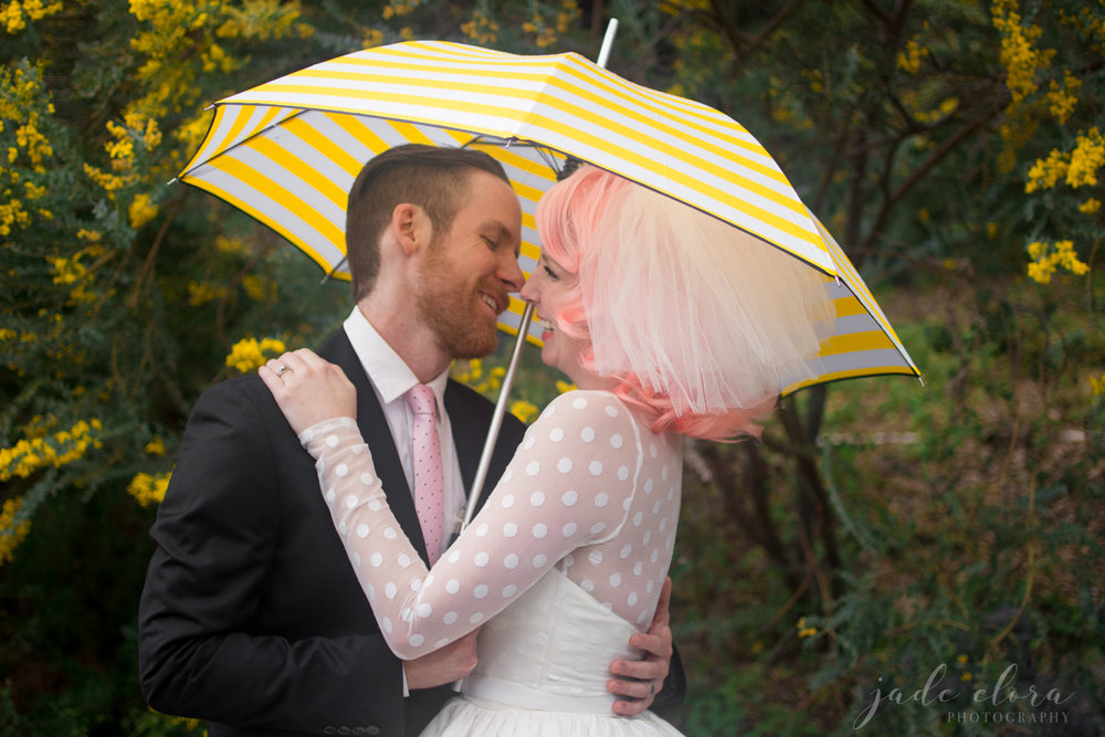 Colorful Vintage Wedding with Pink Haired Bride