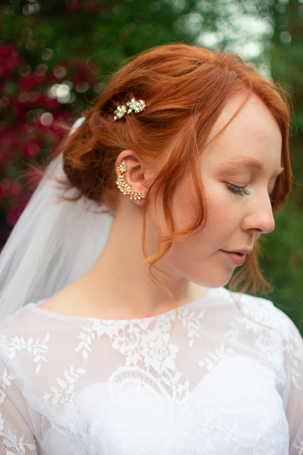 Redhead Bride with Ear Cuff and Veil