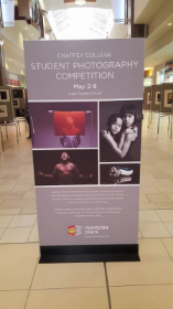 An image of the promotional display advertising the Chaffey Community College Spring Photo Show at the Montclair Plaza, in Montclair CA.