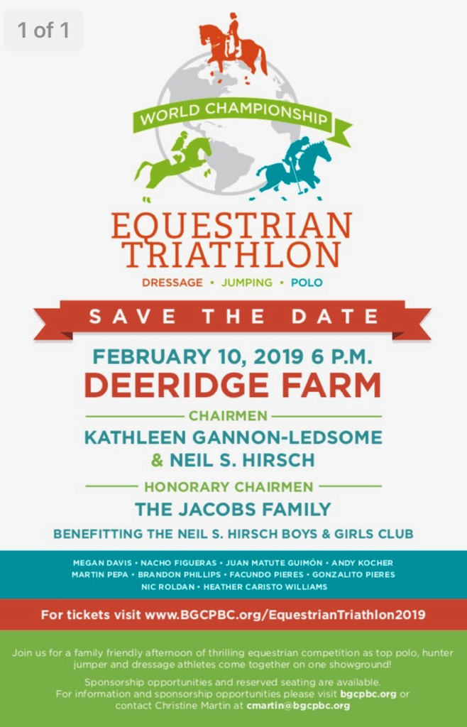 2.10.2019 - Please join us on February 10th at Deeridge Farm in Wellington, FL for the World Championship Equestrian Triathlon !