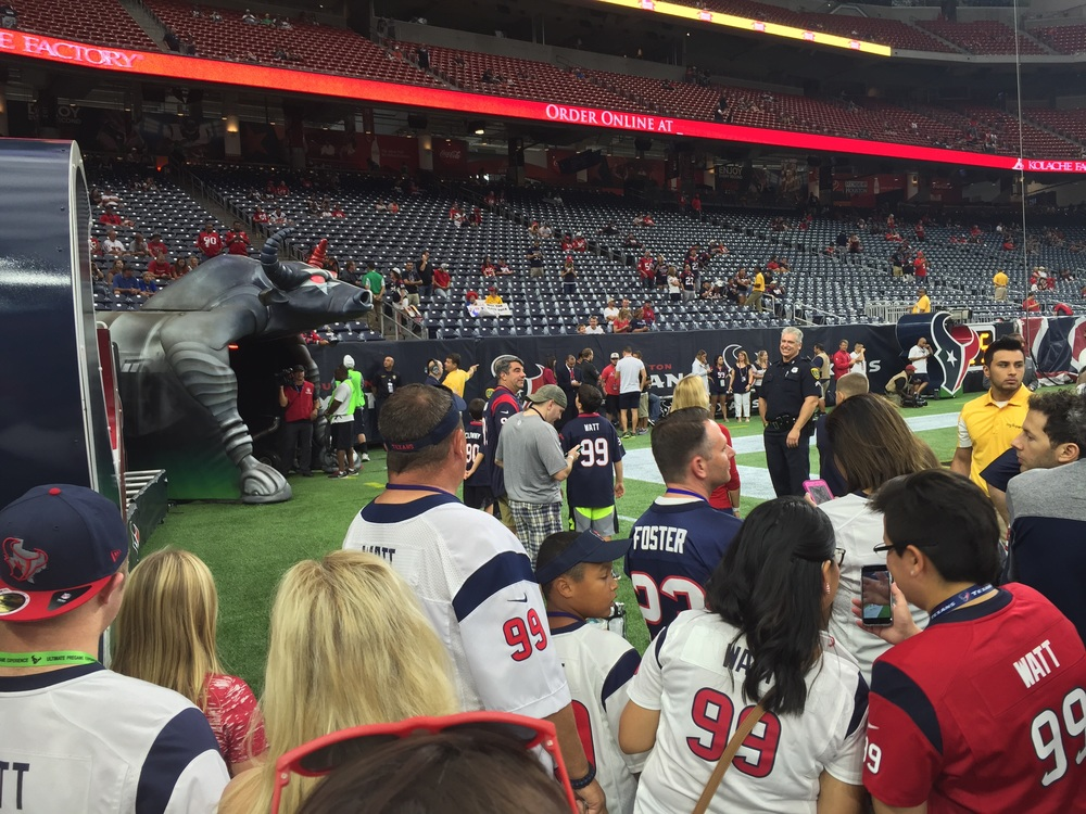 Waiting on the Texans to make their grand entrance before taking on Tampa Bay.