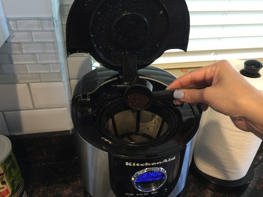 I know some people will set the coffee maker to brew automatically but I chose to physically press the button because it forces me out of bed!