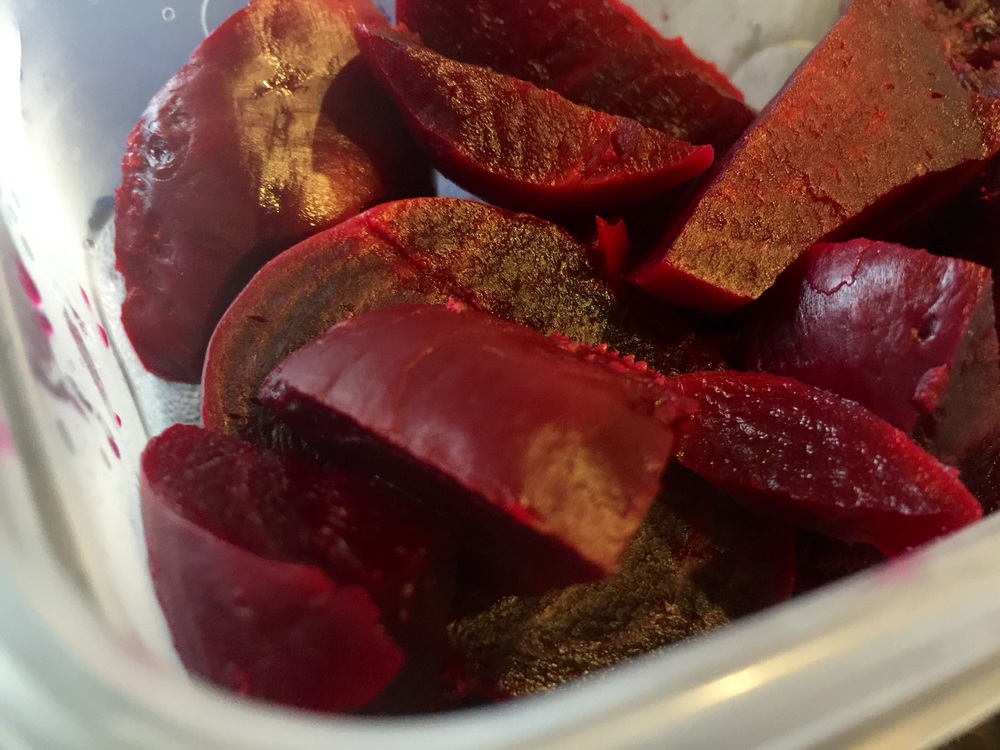 I enjoy beets in salads and smoothies so I'll just store them in a tupperware & keep them in the fridge until I'm ready to use.