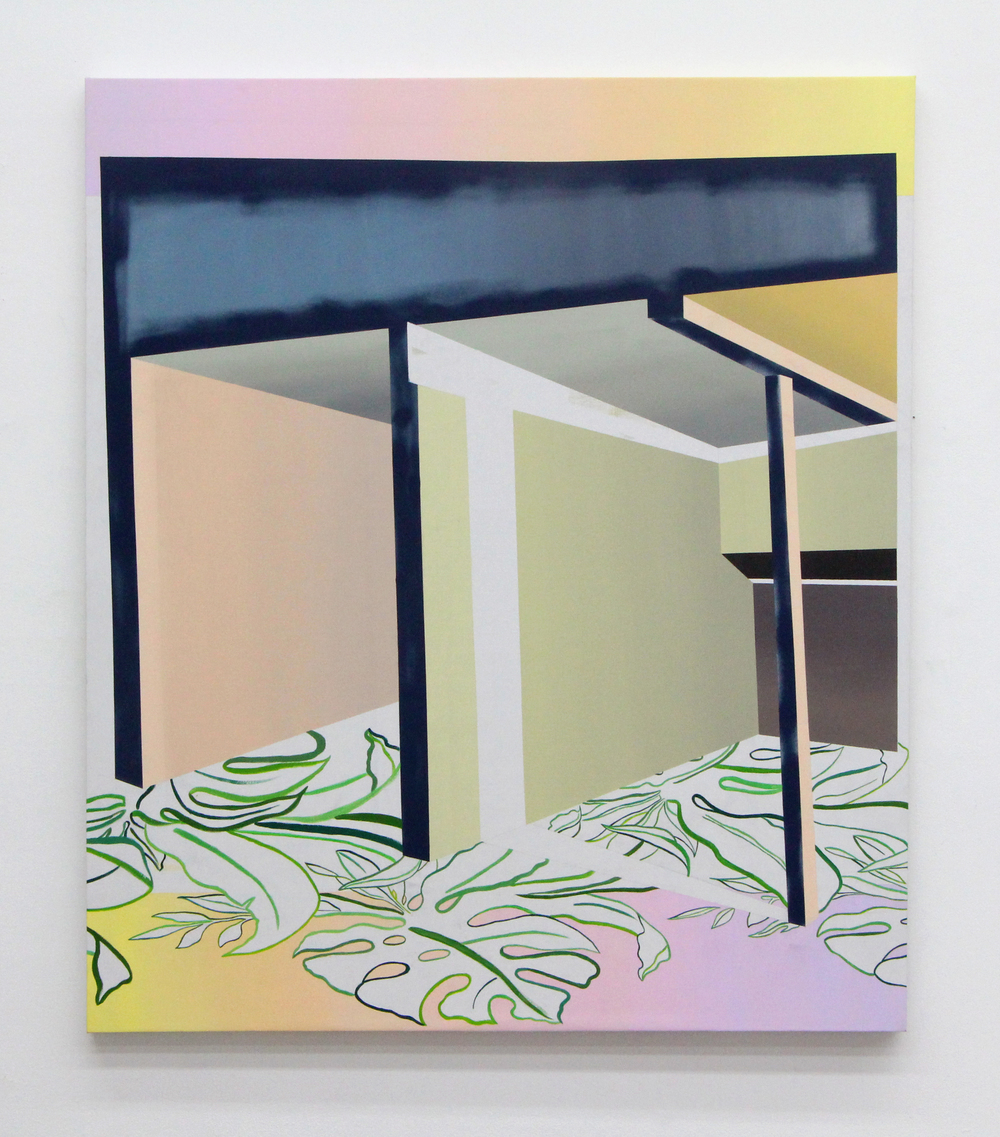 "Tropical Modernism  , Acrylic and spray-paint on canvas, 63.5"" x 73.5"""