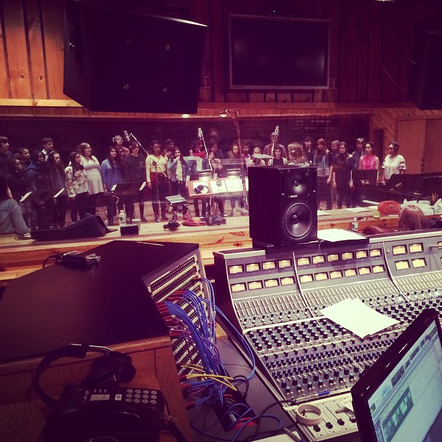 Re-gram of session with the Brooklyn Youth Chorus recording at Avatar Studios NY. These kids are knocking it out.
