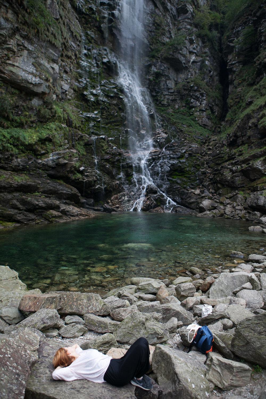 Spanish photographer Bego Anton at Froda Waterfall   (photo Selvaprakash Lakshmanan, India)
