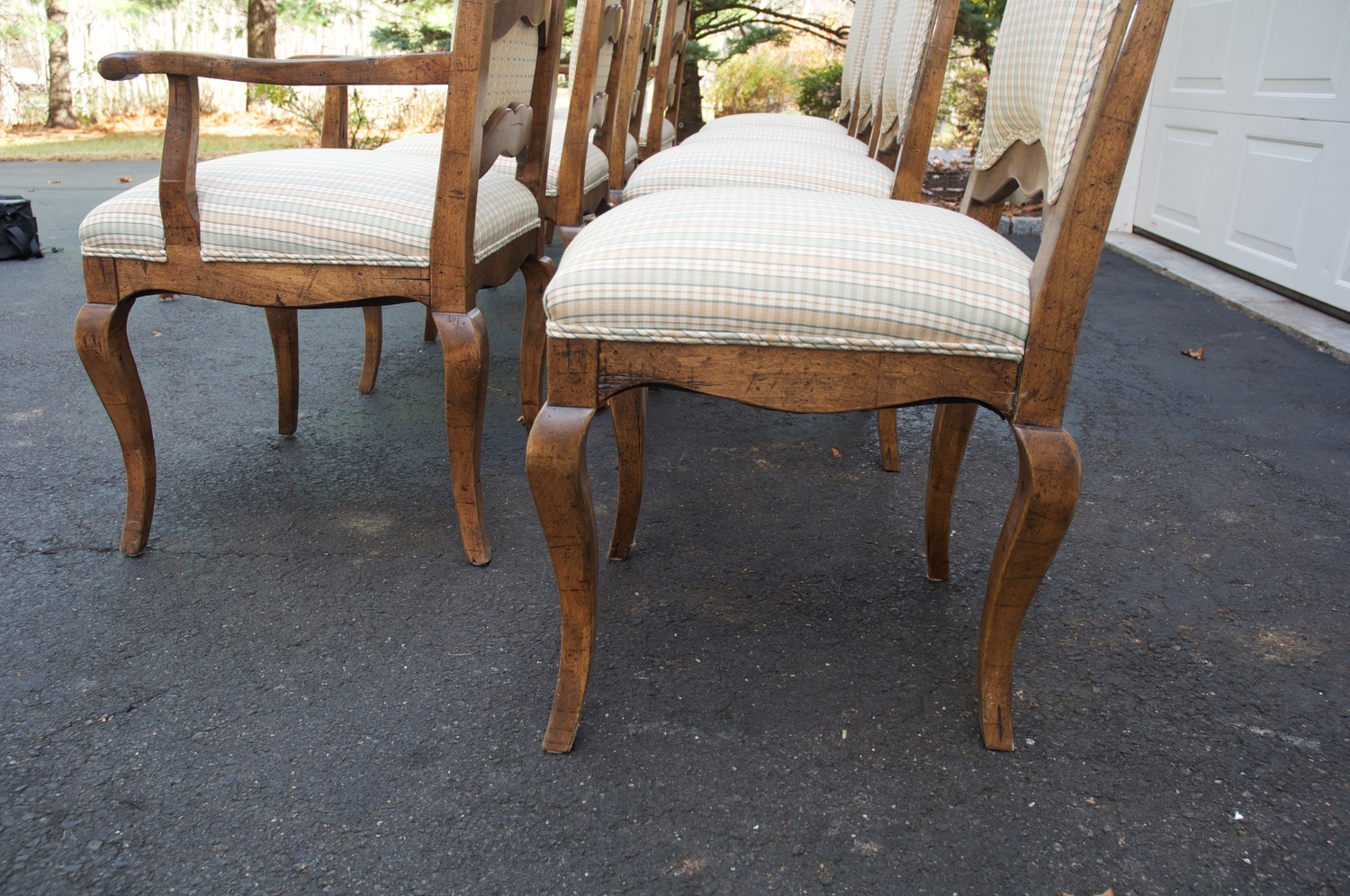 Upscale Resale CT — Set of 8 French Country Upholstered Ladderback ...