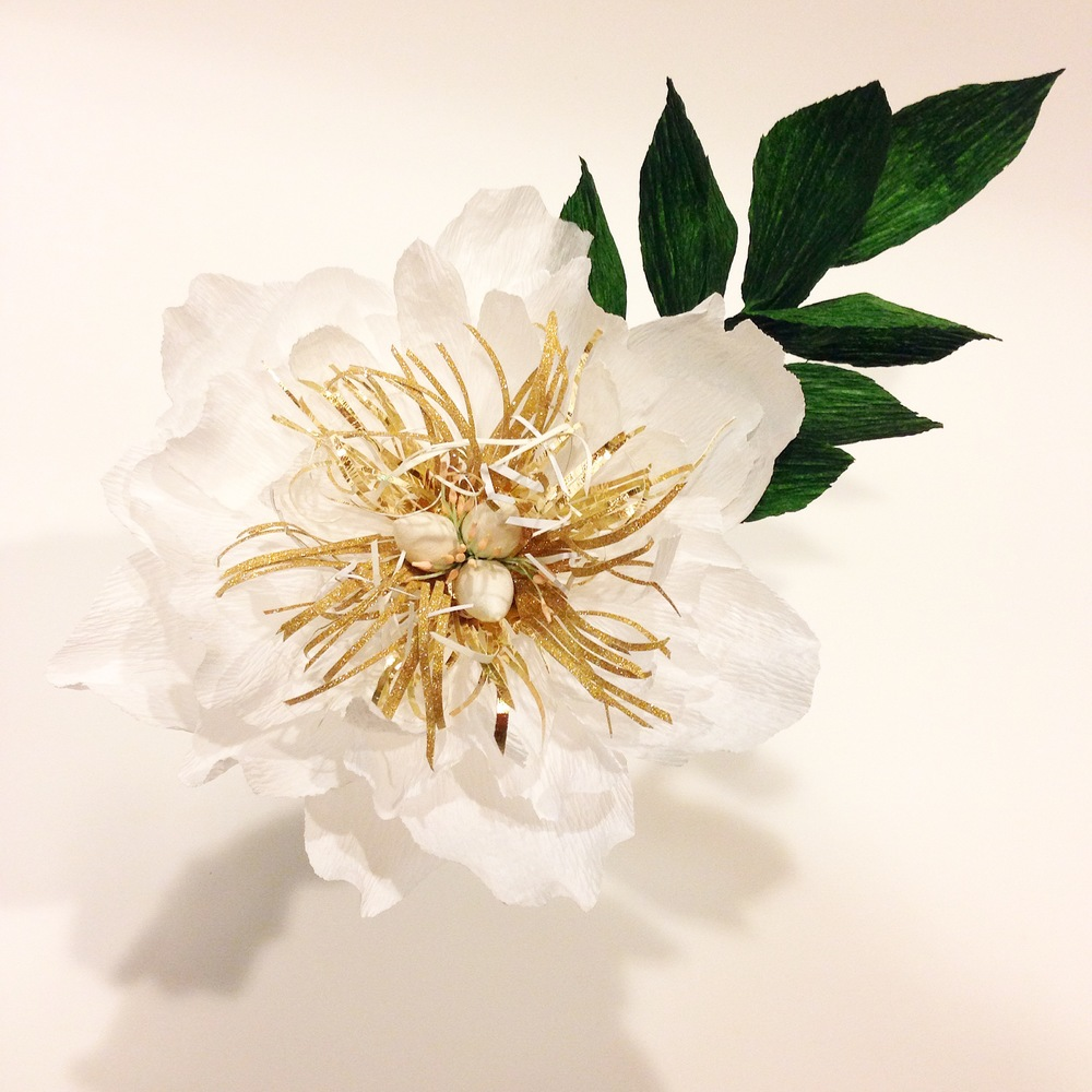 Paper Peony with gold accent