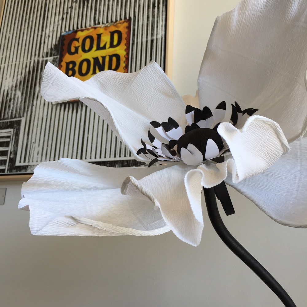 Paper Portrayals black and white Anemone complimented by a stunning piece by Deanna Fainelli