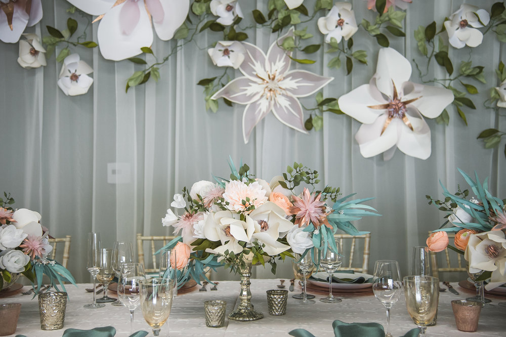 Paper Flower Centerpiece and Backdrop
