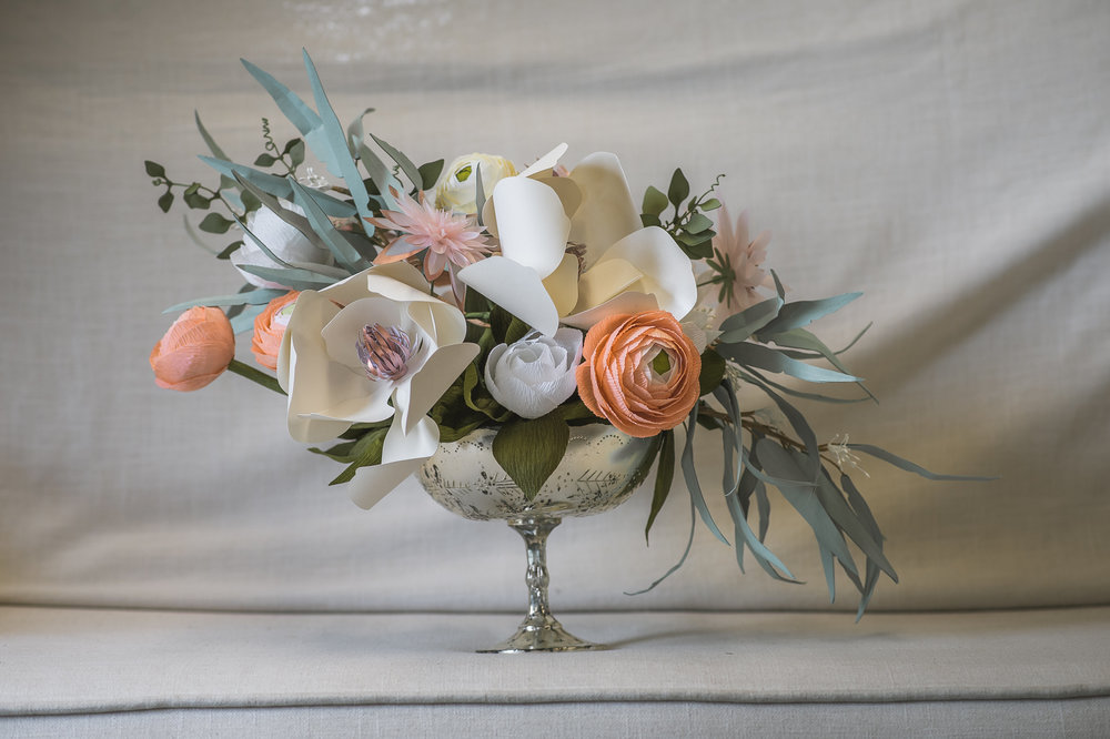 Paper Flower Centerpiece by Paper Portrayals
