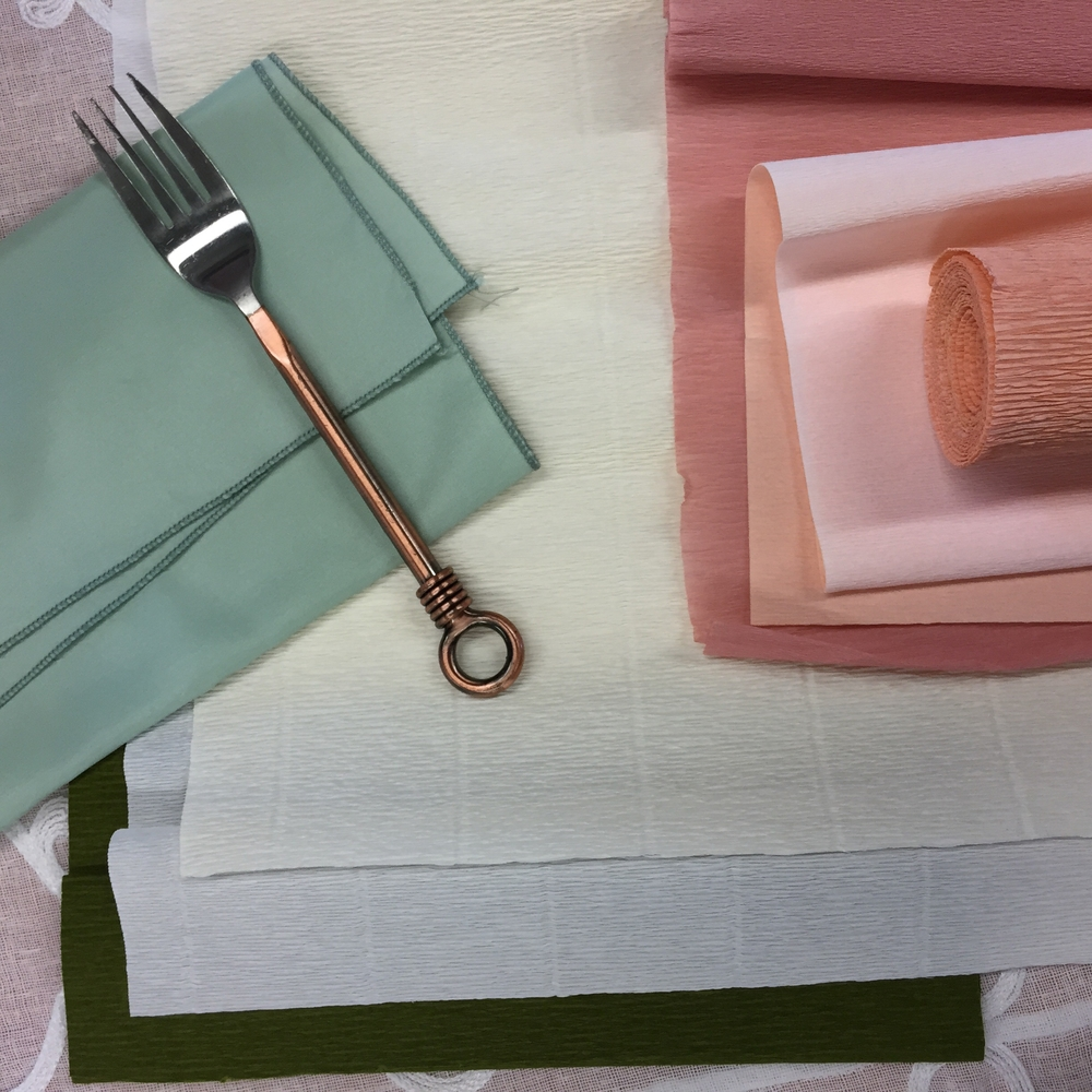 Preparation. Choosing the color palette, papers and flatware