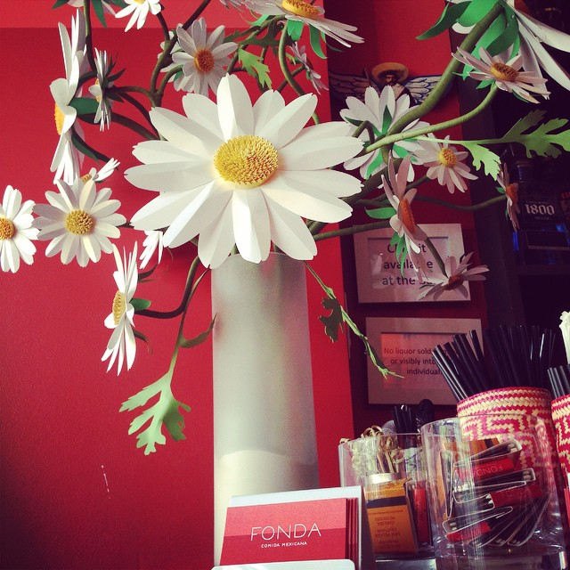 Installation complete @fondanyc Beautiful #paperdaisies were a labor of love and they came out so good! We are very happy with the way these three installations came out. Very wonderland, very #FONDA (at Fonda Chelsea)
