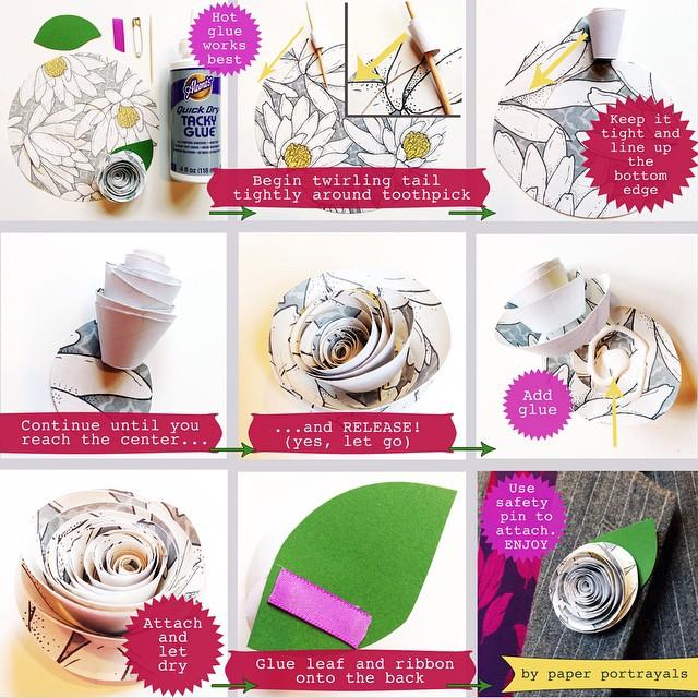 "Today's prompt for #ctmonthinthelife is ""HOW"" so here's a little tutorial for you for a spiral ranunculus pin! ENJOY! @createandthrive PaperPortrayals.com/blog/tutorial"