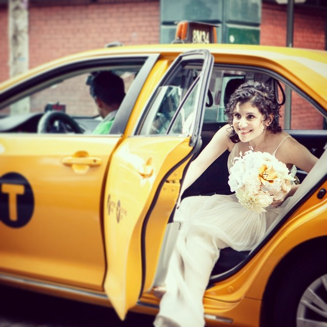 Today's prompt from @createandthrive for #ctmonthinthelife is Customer. This bride @jackienadel was one of my favorites! (Although I prefer the term 'client') Her amazing photographer from 'Stylish and Hip Weddings' caught this perfect moment of Jackie emerging from the taxi on her wedding day! That's how we do a #nycwedding #paperflowerbouquet #bridalbouquet
