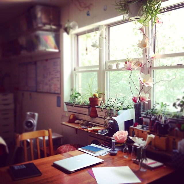 A very rare glimpse into my wonderful, teeny-tiny, plant-filled, unorganized, STUDIO! In this photo you will see some paper flowers, a lot of succulents, my meditation cushion, and a wall of calendar/white boards. This studio is also my studio apartment that I share with my husband @jonzuckerman in Brooklyn. It's small, it's cozy and it's perfect for us :) #homeiswherethestudiois This photo begins a month long IG series put on by @createandthrive #CTamonthinthelife I'll do my best to keep up and you'll get to see my story and my life with @paperportrayals :) (at PaperPortrayals studio)