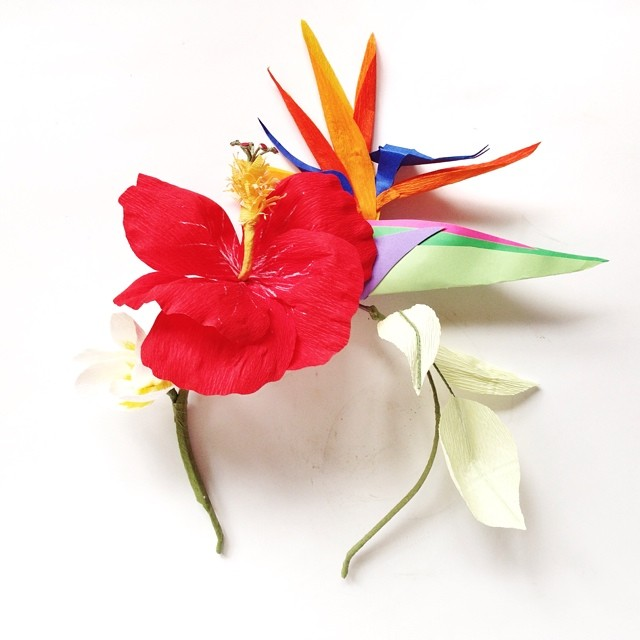 Tropical headband! #paperflowers #birdofparadise #paperhibiscus