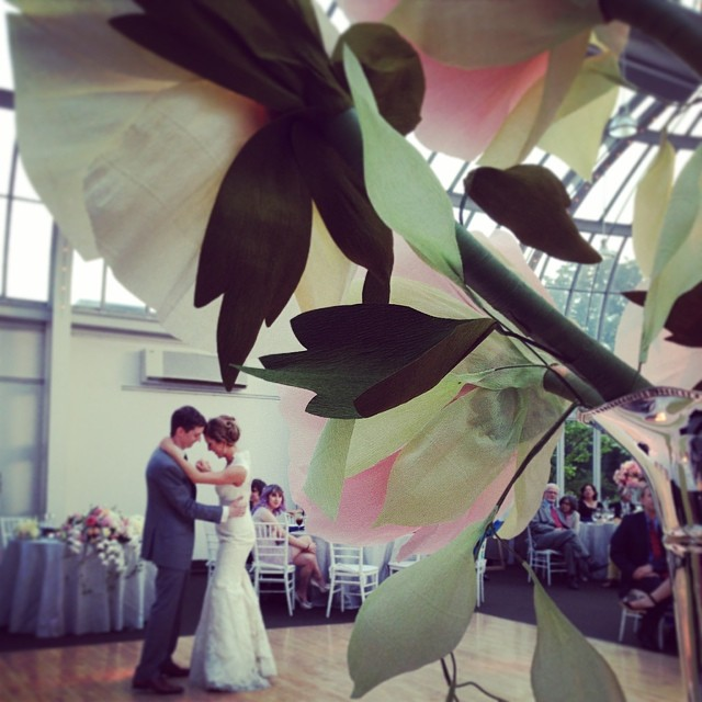 The #paperflowers witness the first dance in the #palmhouse at BBG (at The Palm House At The Brooklyn Botanical Gardens)