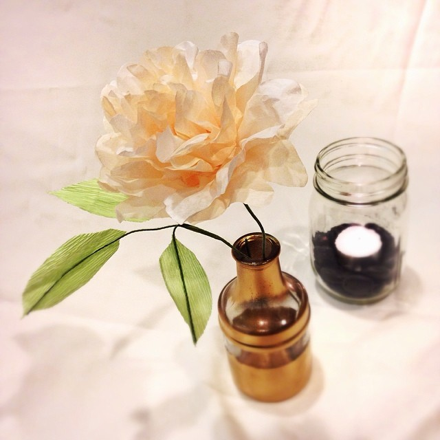 Here's a peek at my client's sample #paperflowers This hand-painted puff peony is in a gold-painted bud vase!