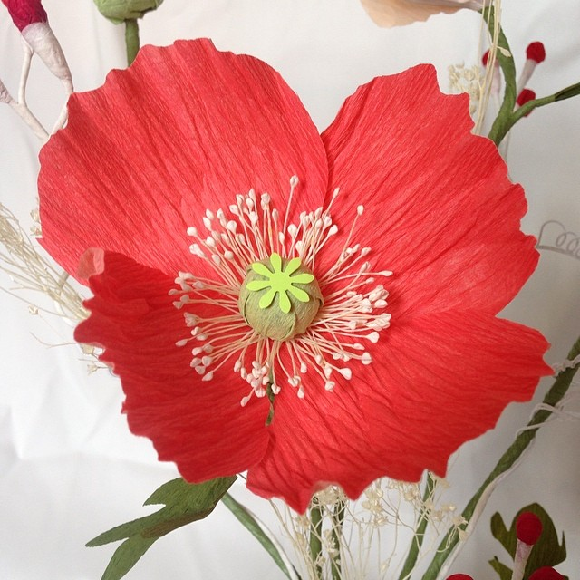 Just loving the color of my newest crepe paper poppy flower! #paperflowers #replica