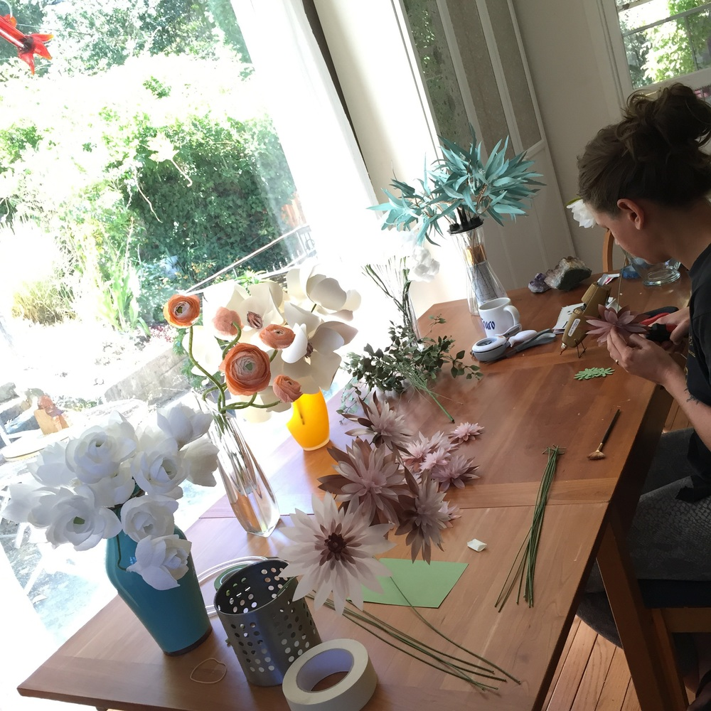 Paper flower studio in full bloom.
