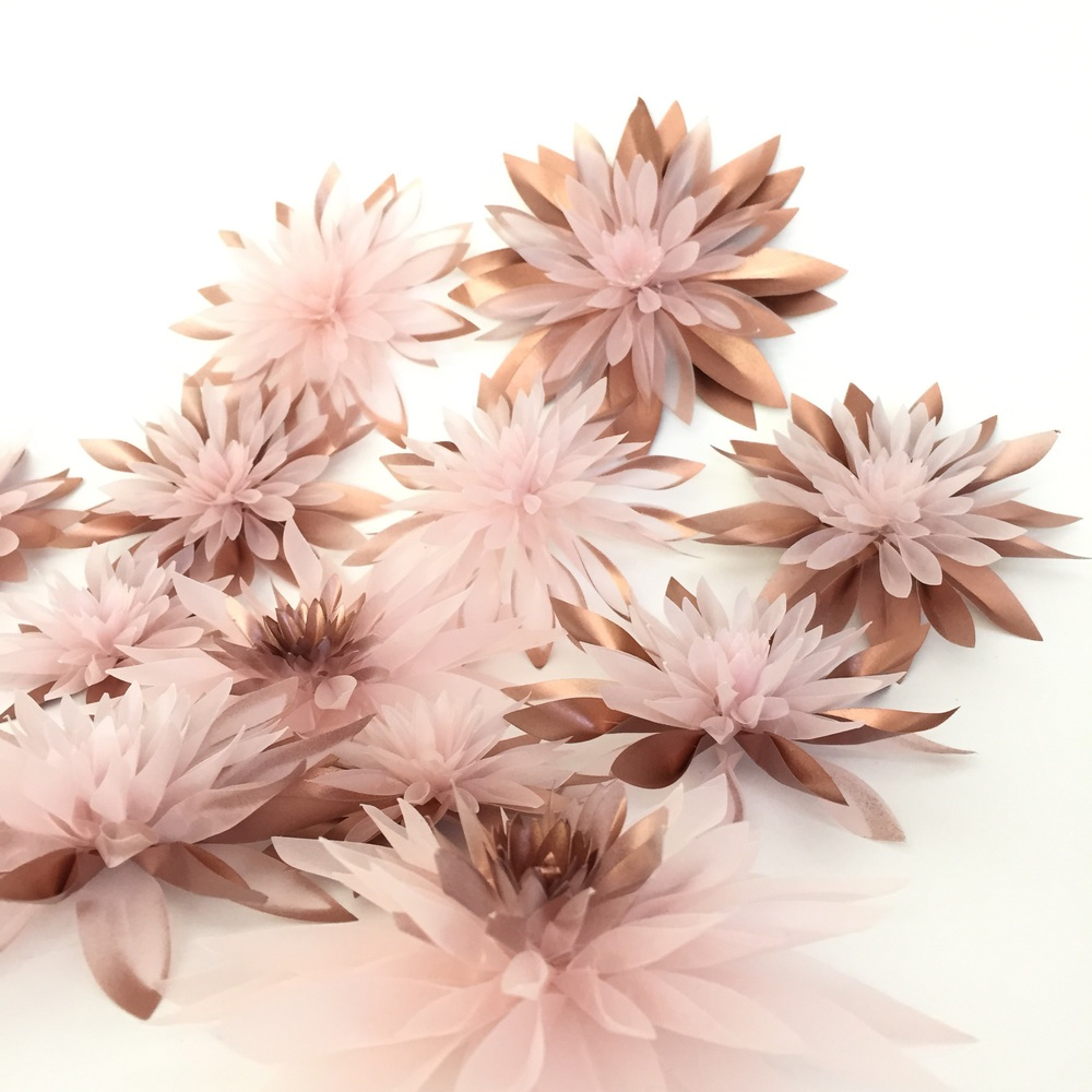 Balinese waterlilies with spray painted copper accents.