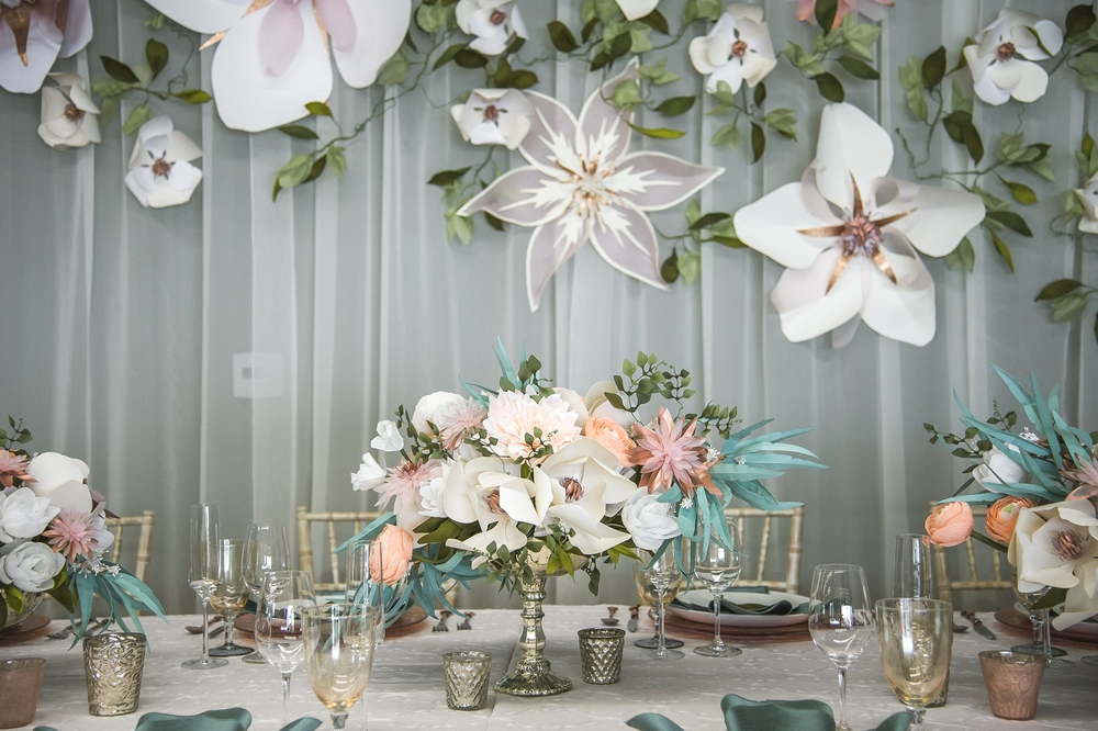 Paper Floral centerpieces with Paper Flower Backdrop