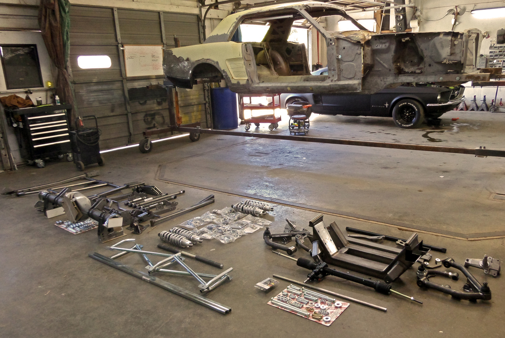 The parts needed to transform a stock 1966 Mustang into a car that handles better than many modern sports cars.