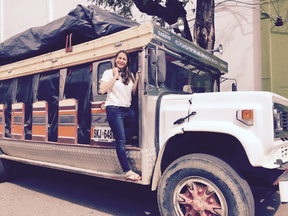 Milly Barr on a typical Colombian truck