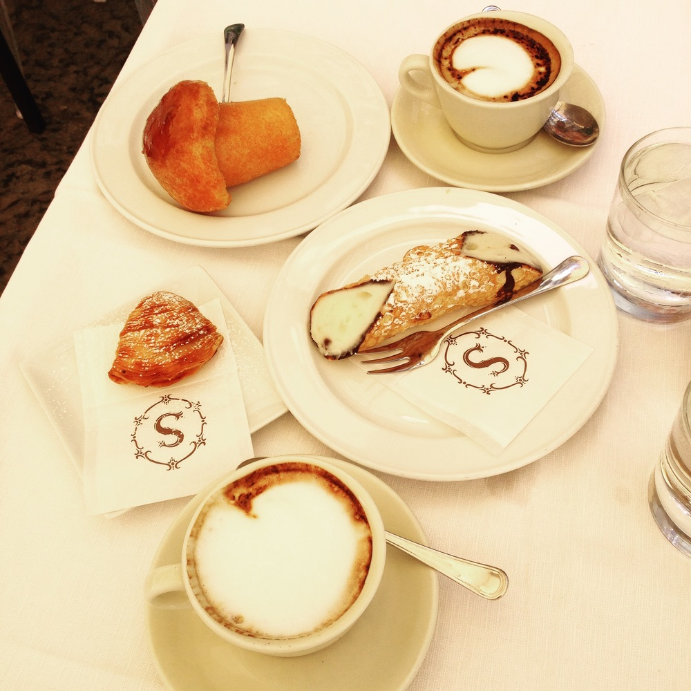 Great breakfast served at 'Pasticceria Scaturchio' in San Domenico Maggiore Square - Spaccanapoli