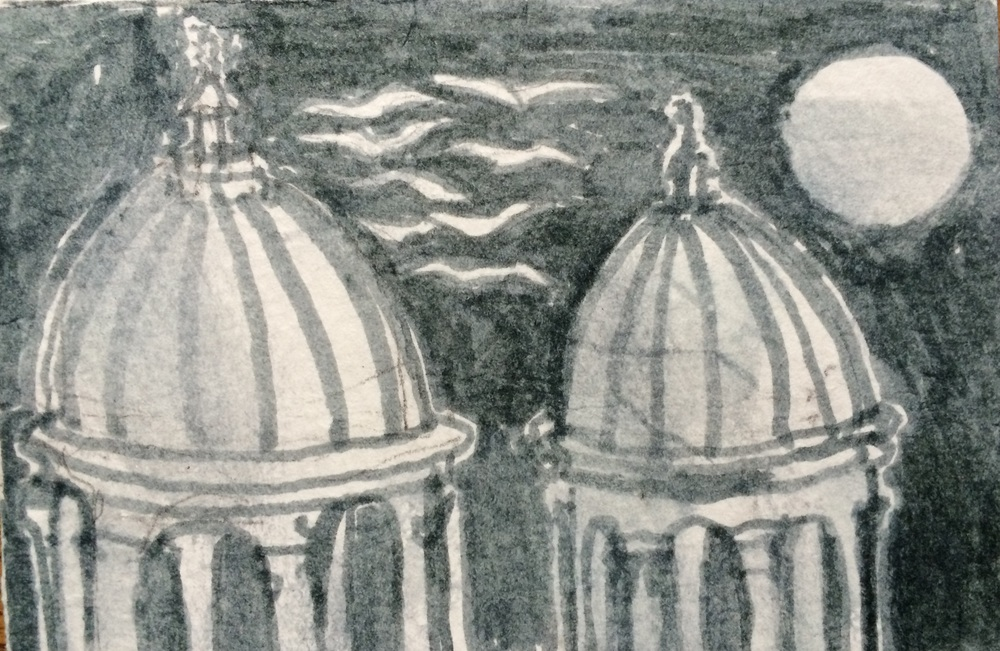 Moonlit Doves and Domes of Rome