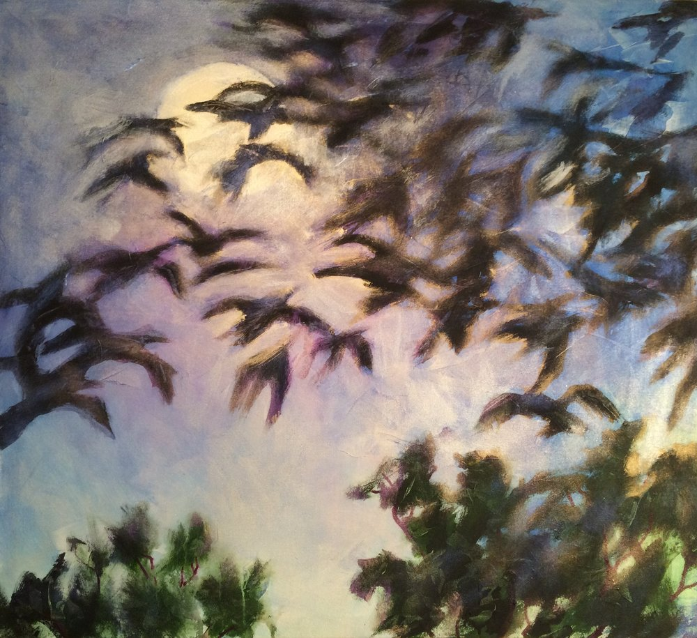 "Shumway Moonlit Crows 44""x 40"" acrylic on canvas.JPG"