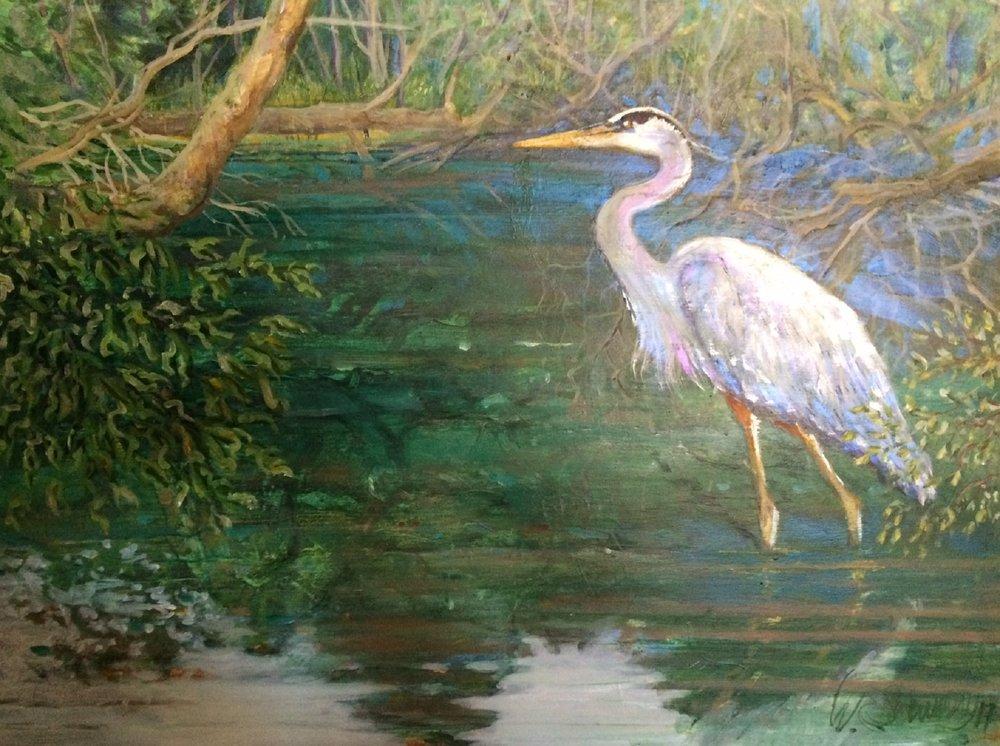 Great Blue on Oak Creek W. E. Shumway acrylic on panel 24 x 36w inches 975.oo.JPG