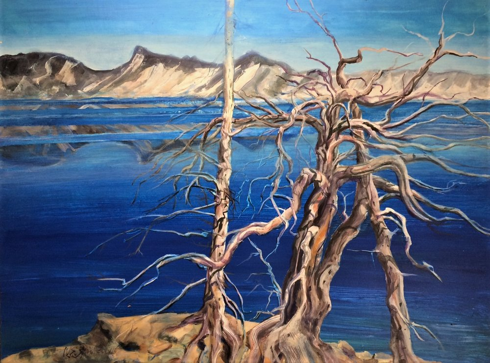 Crater Lake Trees W.E.Shumway acrylic 36 (h) x 48 inches 2,500.00.JPG