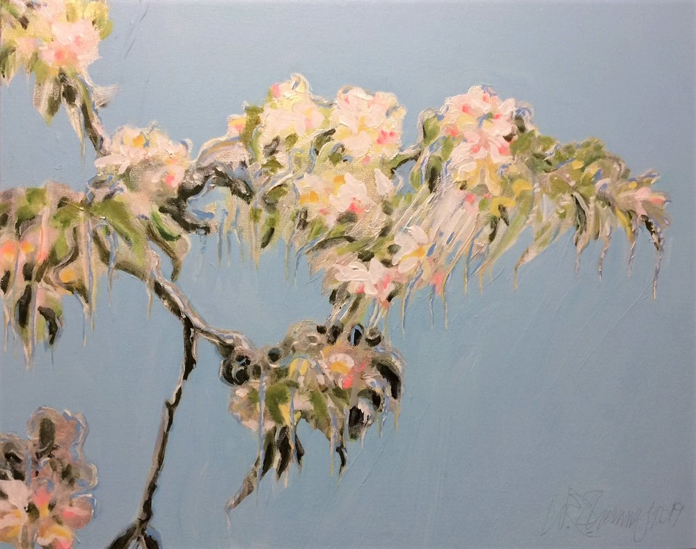 Ice Encased Blossoms by W.E.Shumway acrylic 24 X 30inches (w) 850..JPG