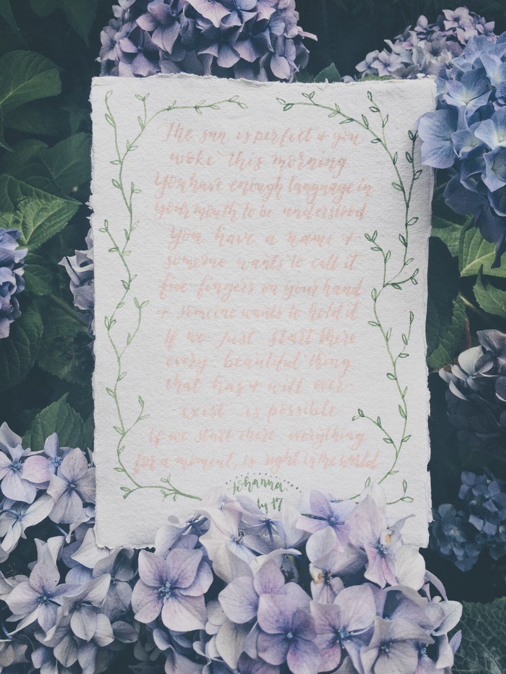 Decorative  Items  Quotations, vows, lyrics or personal messages, hand lettered.
