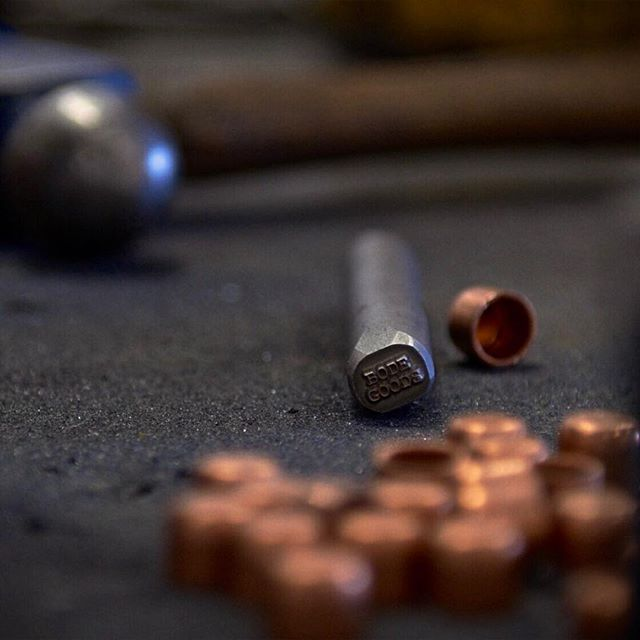 Copper caps ready to be hammered.