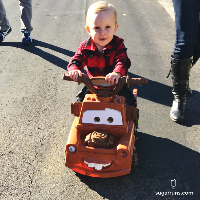 Cade was so happy with his TOW Mater Car! So Cute!