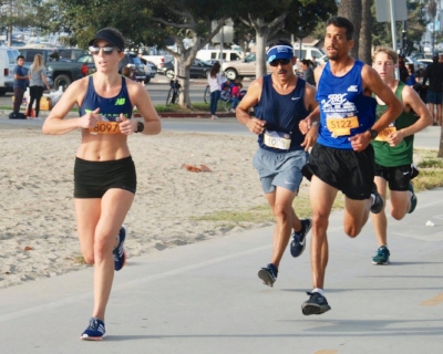 My athlete Lindsey saw this on the South Bay Runner's Club Facebook that she's a part of and sent it to me! I ran with these guys for a while and they helped me through mile 7-10! I look like I'm about to enter the pain cave!
