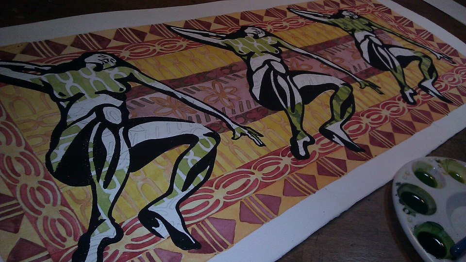 I choosethe colors inside the figure to feel like ti leaves that are in different stages of dryness. I want it to remind the viewer of dried ti leaf pa'u skirts as they rustle with the movement of the dancer.